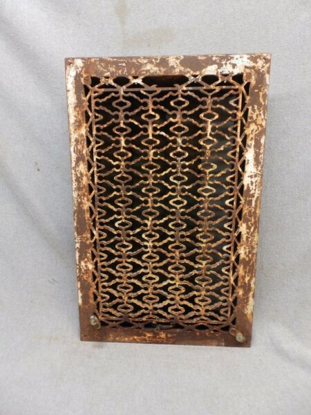 Antique Cast Iron Heat Grate Vent Register Old Design Decorative 20x12 346-17P
