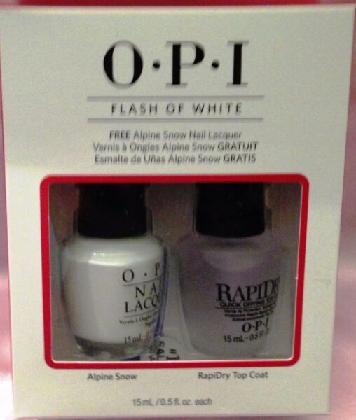 OPI FLASH OF WHITE DUO Alpine Snow amp; RapiDry Top Coat Set NEW in Package