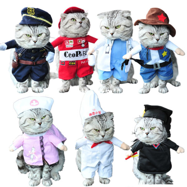 Pet Small Dog Cat Pirate Costume Outfit Jumpsuit Clothes For Halloween Christmas $7.99