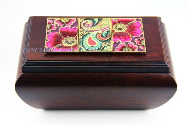 JAY STRONGWATER AMAZING POPPY TILE DESIGN ON WOOD BOX SWAROVSKI NEW MADE IN USA