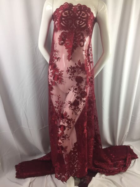 Lace Fabric Embroidered 2 way Stretch Floral Burgundy For Dress By The Yard $24.12