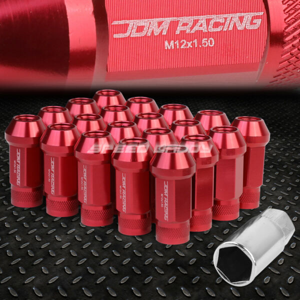 JDM OPEN-END ALUMINUM RED 20 LUG NUTS SET+ADAPTER M12X1.5 25MM OD50MM TALL