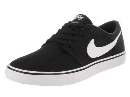 Men's NIKE SB PORTMORE SOLARSOFT Black/White Skateboard Sneakers Shoes NEW