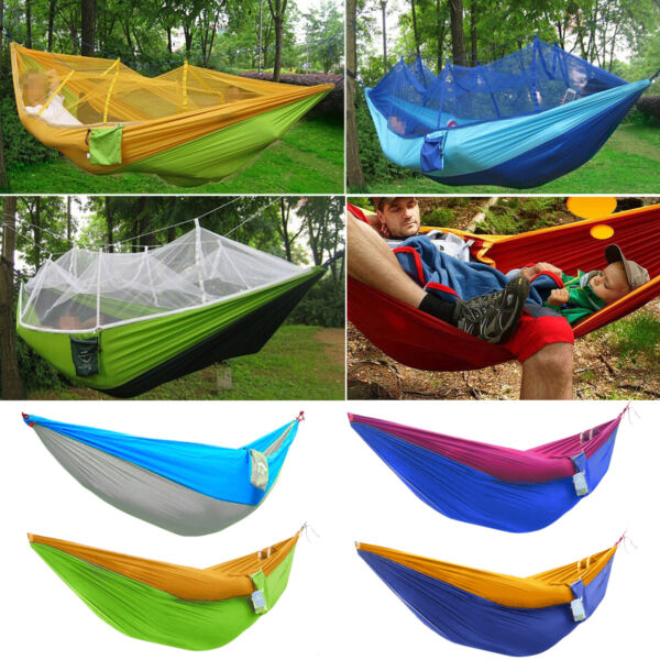 Nylon Fabric Travel Camping Double Outdoor Hammock Swing Bed Portable Parachute $39.38