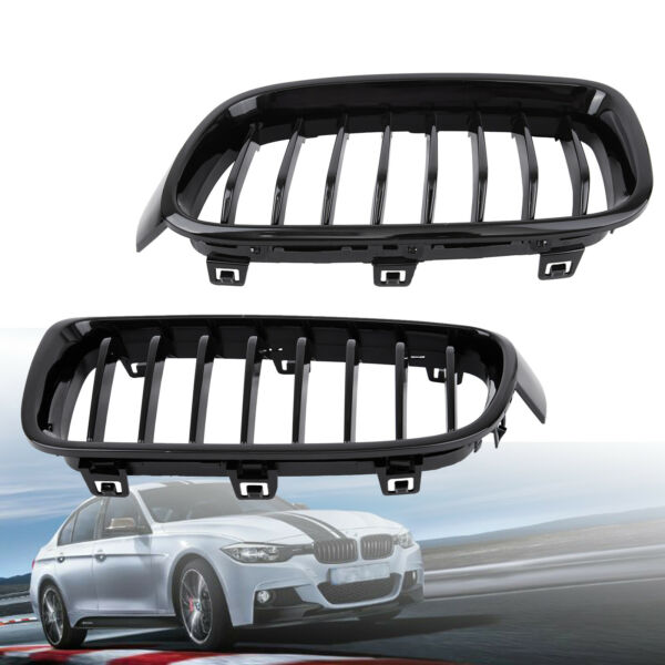 For BMW F30 F31 3 Series Kidney Grill Grille Gloss Black M3 Look Sport 2012-2014