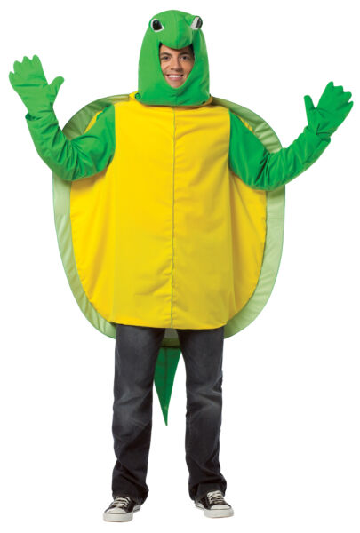 Turtle Plush Mascot Adult Costume Green & Yellow Tunic Halloween Rasta Imposta