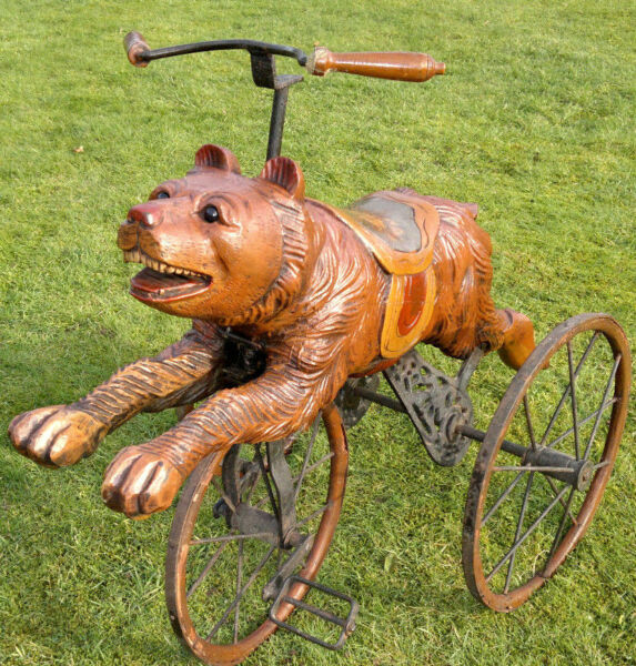 Rare Antique Black Forest Bear Tricycle Bicycle Hand Carved -Painted- 33