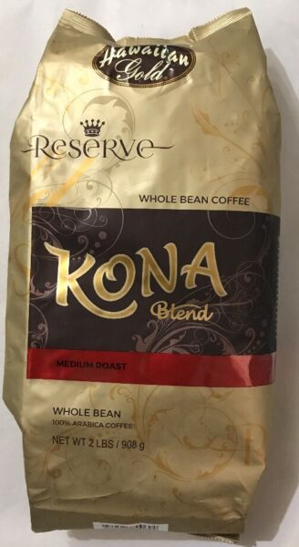 Kona Blend Coffee Whole Beans Hawaiian Gold 2 lbs (FREE EXPEDITED SHIPPING )