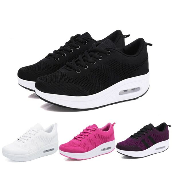 Newly Women Wedge Sneakers Breathable Walking Shoes Lace Up High Platform Shoes