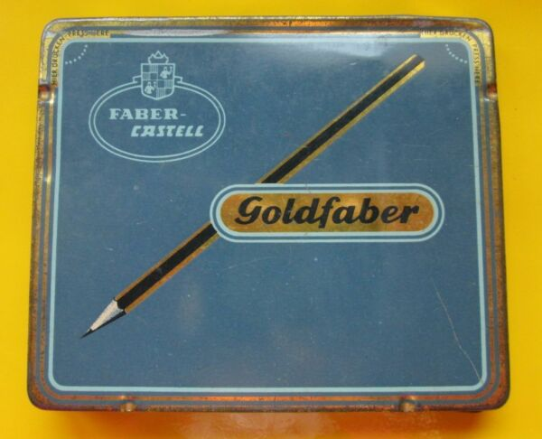 Vintage Faber Castell Goldfaber Metal Box + 5 Used Wooden Pens 11.5x10x1.0cm