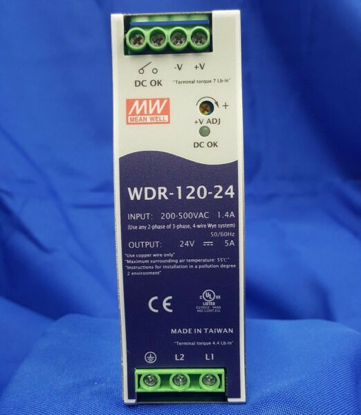 Mean Well WDR-120-24 ACDC Power Supply Single-OUT 24V 5A 120W  US Authorized