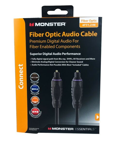 Monster Essentials Premium Digital Fiber Optic Audio Cable 4 Ft