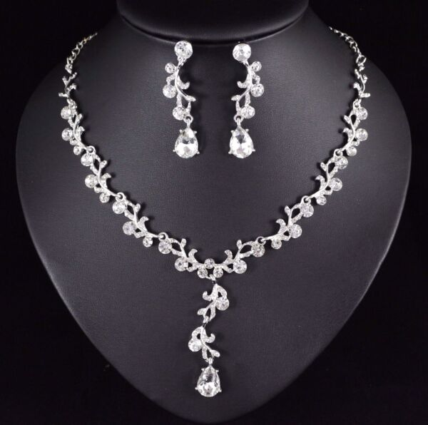Floral Clear Austrian Rhinestone Necklace Earring Set Bridal Prom Pageant N57 $9.99