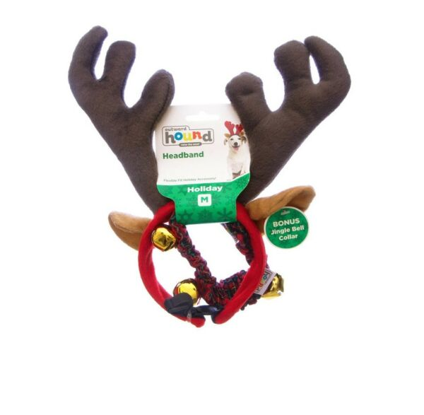 HOLIDAY Combo AntlerBell Collar for Dog - M - L - holiday party