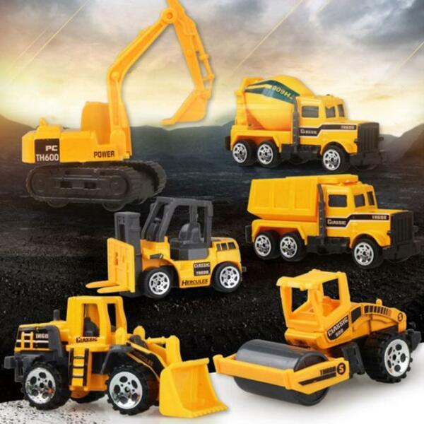 6Styles Diecast Mini Alloy Construction Vehicle Toy Engineering Car Dump Truck J