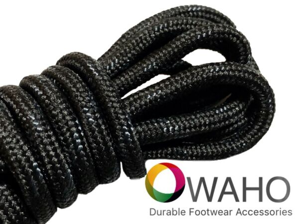 Heavy Duty Black Shoe  Boot Laces made with Black Dupont™ Kevlar®