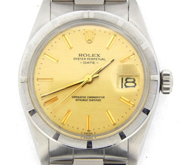 Mens Rolex Date Stainless Steel Watch Oyster Band Bracelet Gold Linen Dial 1501