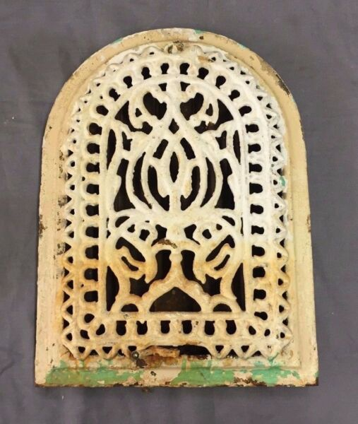 Antique Cast Iron Arch Top Heat Grate Wall Register Decorative Vtg 8x12 33-17B