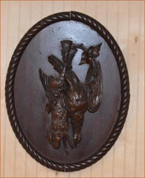 GERMAN BLACK FOREST CARVED ANTIQUE PLAQUE OF GAME ANIMALS 17quot; x 14quot; folk art