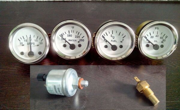 With Oil temp Sender 52mm Electrical Oil Pressure Temp Amp Fuel Gauge WH