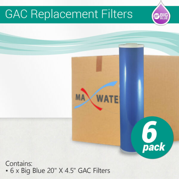 20x 4.5 quot;Big Blue Granular Activated Carbon GAC Water Filter 5 Mic 6 Pack $144.00