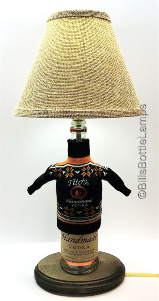 Tito's Vodka HOLIDAY SWEATER Complete Liquor Bottle TABLE LAMP Package w Shade