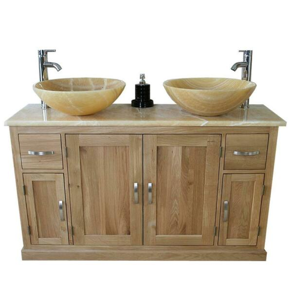 Oak Bathroom Vanity Cabinet Double Twin Sink Bowl Basin & Golden Onyx Unit 402