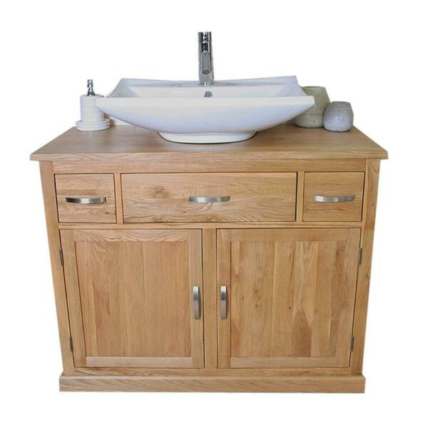 Bathroom Vanity Unit Furniture Wash Stand Oak Cabinet & White Ceramic Basin 1161