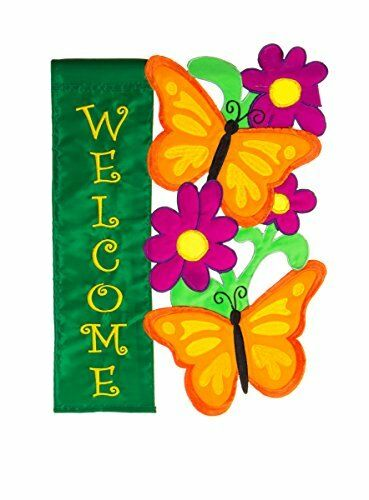 """Evergreen Butterfly Welcome Double Sided Appliqué Garden Flag  12.5""""W x 18H"""
