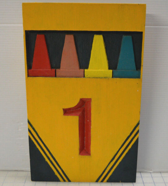Vintage Rare Crayon carved routed wood sign - Mile Marker Number 1 Crayola Box