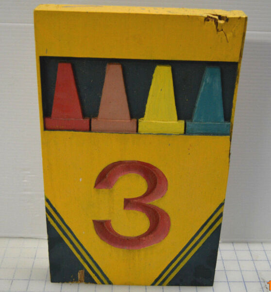 Vintage Rare Crayon carved routed wood sign - Mile Marker Number 3 Crayola Box