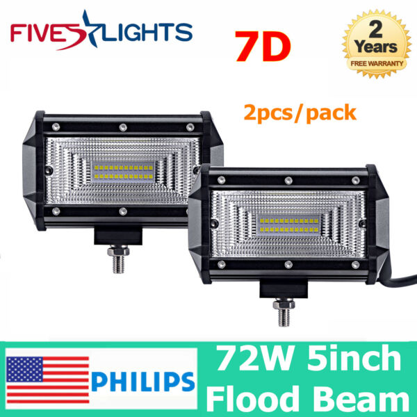 2X 5inch 72W PHILIPS LED Work Light Bar Offroad UTE Driving Lamp 4WD 7D LENS 24W
