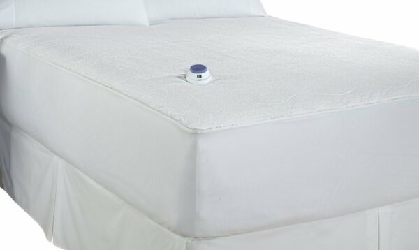 Soft Heat Micro-Plush Top Low-Voltage Electric Heated Mattress Pad White