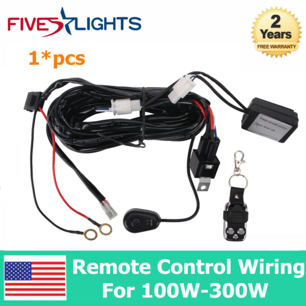 1X Remote Control Wiring Harness Kit Switch Relay Led Light Bar For 100W 300W 2M