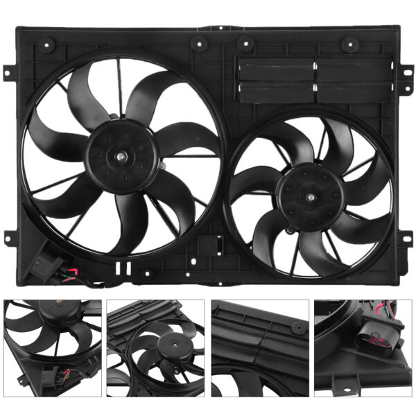 Radiator Cooling Dual Fan For AUDI A3 VW JETTA CC GTI EOS BEETLE 1.8L 1.9L 2.0L