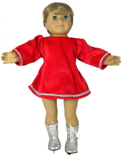 Red Velour Skating Dress and Skates Fits 18