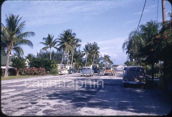 Old Cars Woody Wagon On The Road in Florida Vintage 1940s Slide Photo