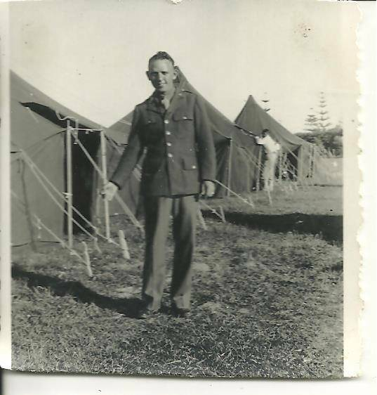 vintage original photo WWII handsome young army soldier uniform military tents