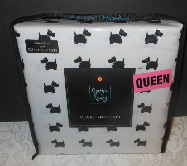 NEW Cynthia Rowley Scotty Scottish Dog Extra Deep Queen Size Sheets Set Bedding $47.77