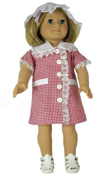 Red and White Gingham 2pc Dress Set Fits 18