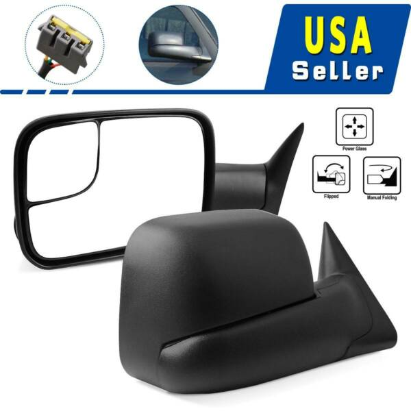 for 99-07 Ford F250 F350 Super Duty Tow Mirrors Power Heated Amber Turn Signals