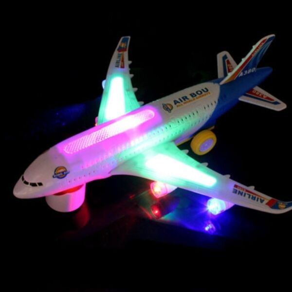 ELECTRIC TOY WITH LIGHT & MUSIC KIDS AIRPLANE AIRBUS A380747 BUMP AND GO TOY US