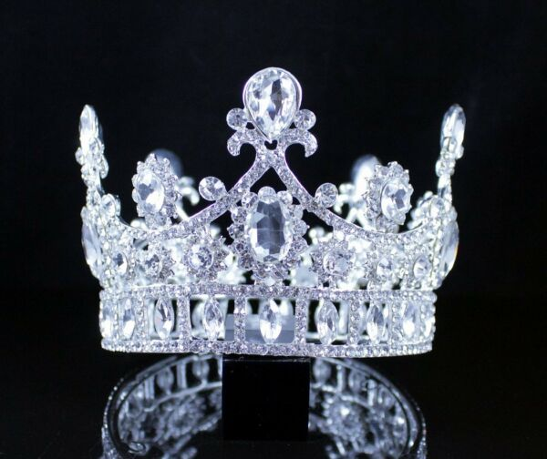 FLORAL ROUND CROWN CLEAR AUSTRIAN CRYSTAL RHINESTONE TIARA PAGEANT PROM T12180 $15.99