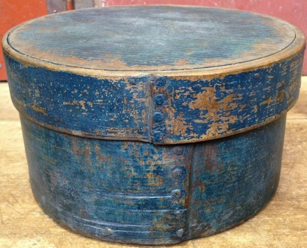 VINTAGE Antique PRIMITIVE SHAKER Blue PANTRY FIRKIN Box Sheet  ADDRESS LABELS