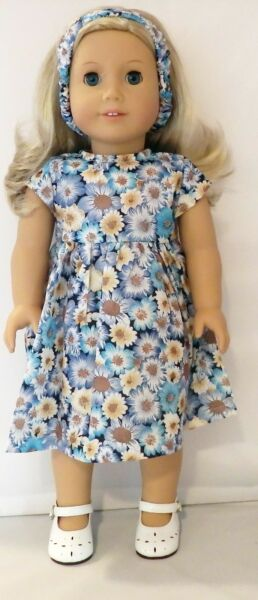 Blue Floral Dress and Headband 2pc Set Fits 18