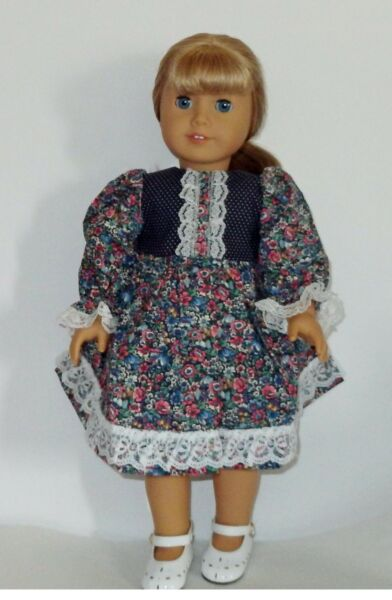 Navy Print Dress with Lace Trim  3pc Set Fits 18 inch American Girl Dolls