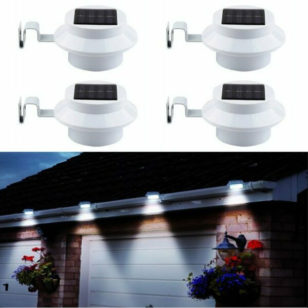 4x LED Solar Powered Light Outdoor Garden Security Wall Fence Gutter Yard Lights