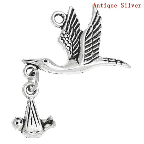 4 Stork Charms Baby Charms Baby Shower Charms Favors Antiqued Silver Moveable $2.42