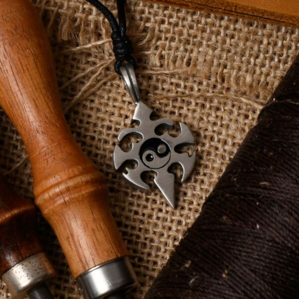 Tribal Yin Yang Silver Pewter Charm Necklace Pendant Jewelry