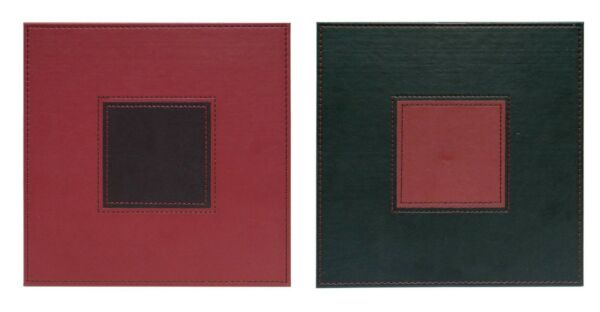 Faux Leather Stitch Square Stylish Placemats Reversible MaroonBrown Set of 4